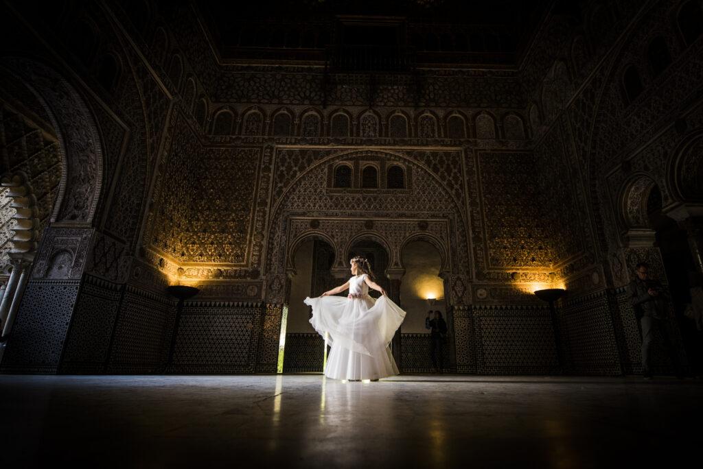Fotografía de Comunión en el Alcázar de Sevilla